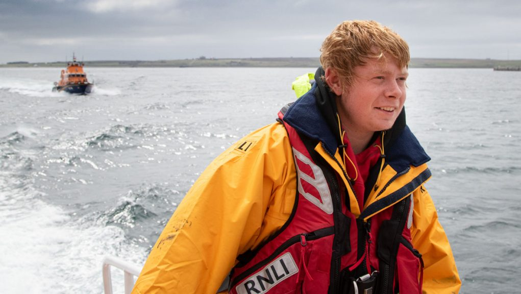 Ryan Davidson onboard Thurso Severn class Lifeboat The Taylors.