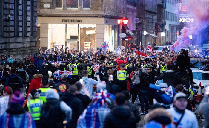 Rangers fans gathered at George Square as they were crowned champions.