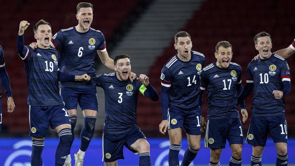 Lawrence Shankland, Liam Cooper, Andy Robertson, Kenny McLean and Ryan Fraser celebrate  during a Euro 2020 Play off match between Scotland and Israel at Hampden Park in October.