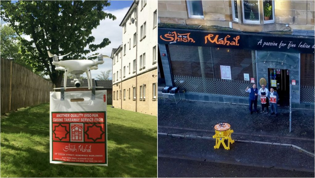The Shish Mahal in Glasgow has teamed up with a drone pilot.