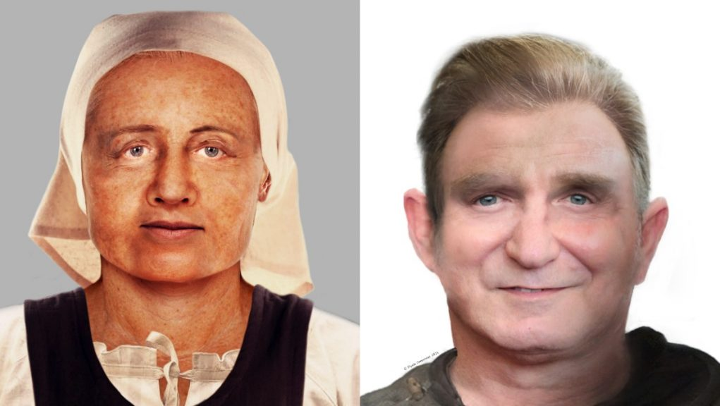 The first two pictures feature a man and woman both aged between 35 and 50 years old.