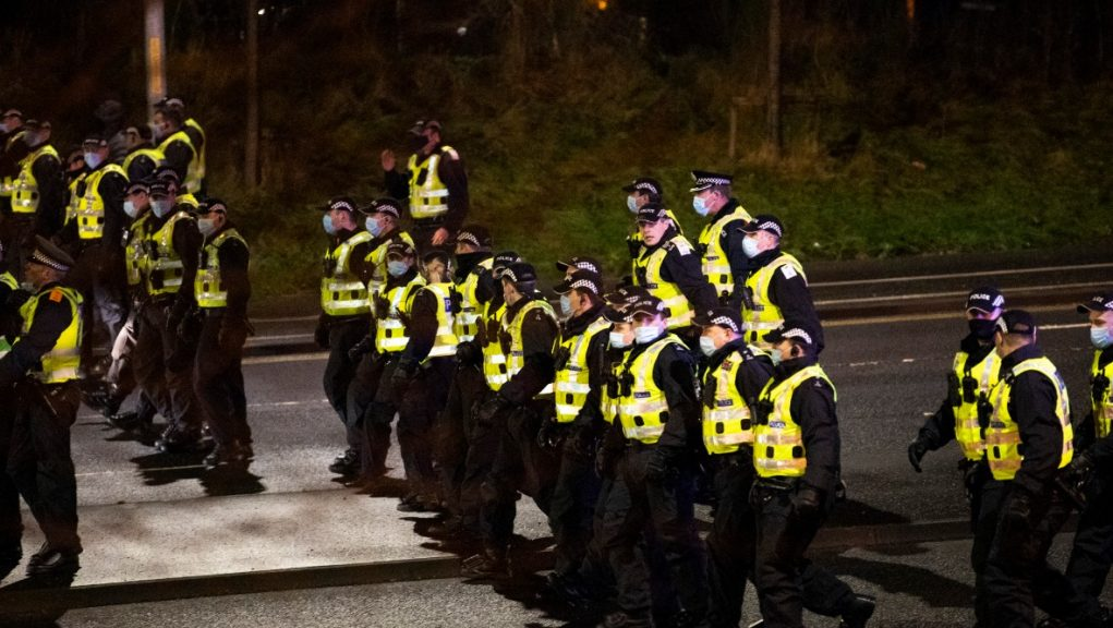 Police: Officers were called to break up a group of up to 100 youths.