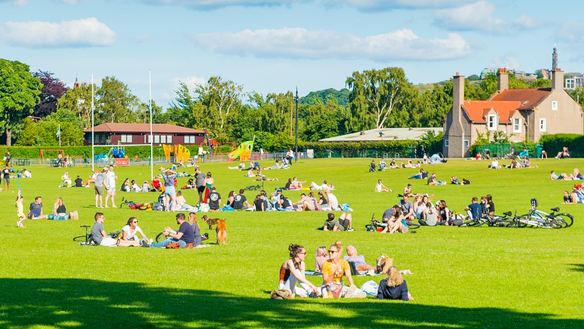 EDINBURGH, SCOTLAND - JUNE 20: Crowds gather in Inverleith Park during the ongoing coronavirus pandemic, on June 20, 2020, in Edinburgh, Scotland.