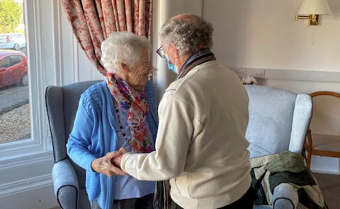 John and Mary Stevenson's reunion at Glenfield and Bagatelle Care Homes in Greenock.