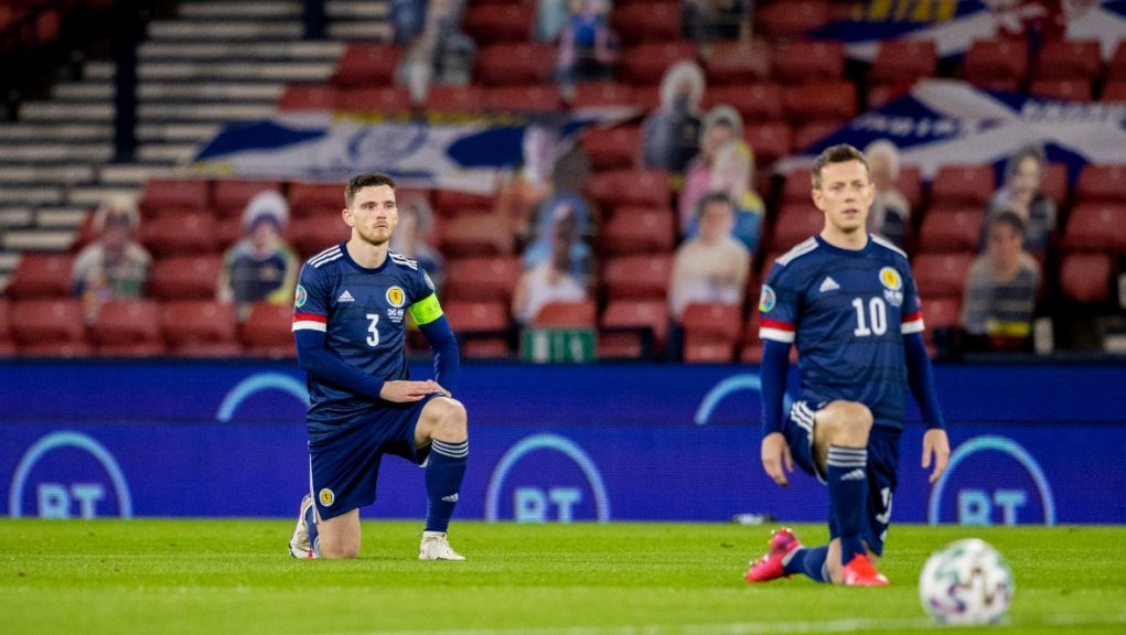 Andy Robertson and Callum McGregor before last October's game against Israel at Hampden.