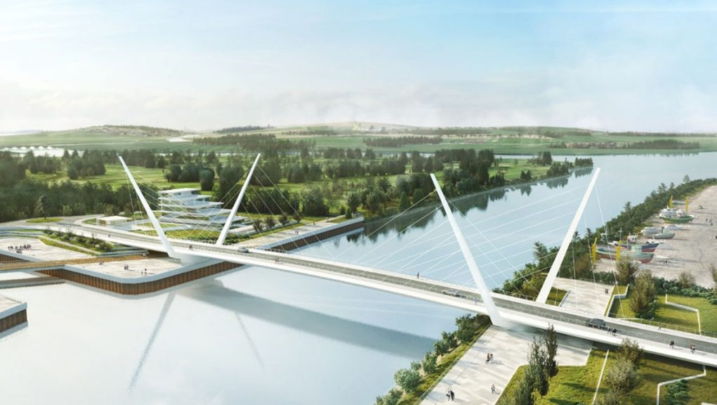 Artist's impression of the new opening road bridge over the River Clyde.