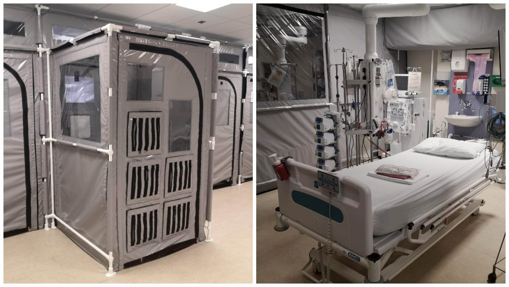 Hospital: Pods installed to ease pressure on intensive care.