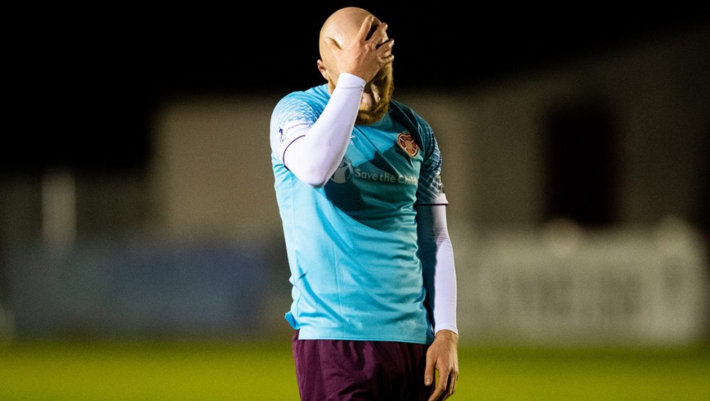 Liam Boyce looking dejected at Dudgeon Park.