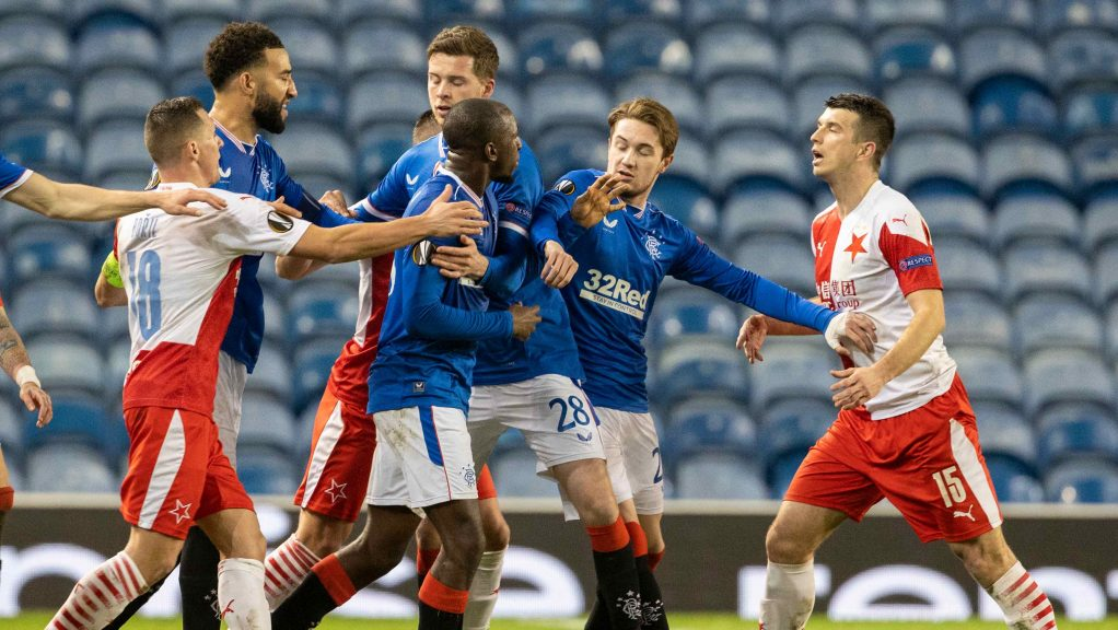 Rangers' Glen Kamara takes exception to something said by Slavia's Ondrej Kudela during the UEFA Europa League Round of 16 2nd Leg match.