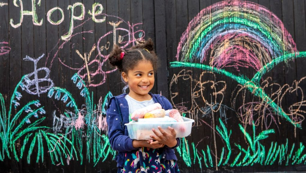 Cheerful: Eilidh's chalk drawings have been a hit with residents.