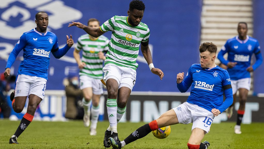 Patterson challenging Odsonne Edouard during Sunday's Scottish Cup tie at Ibrox.