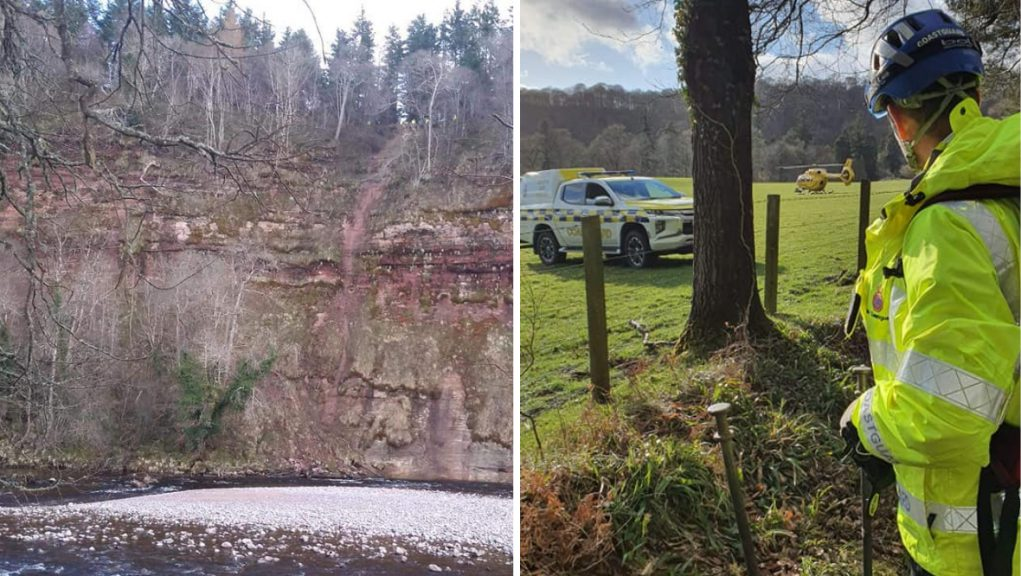 The owner was trapped 10m from the top of the cliffs on the River Findhorn, south of Forres.