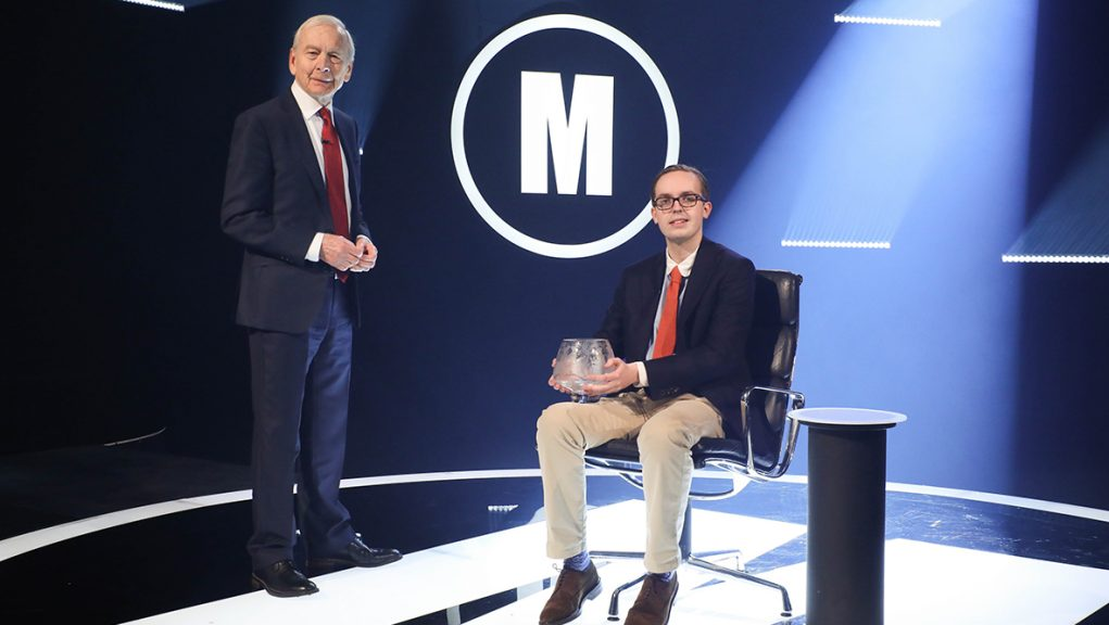 Jonathan Gibson with Mastermind host John Humphrys.