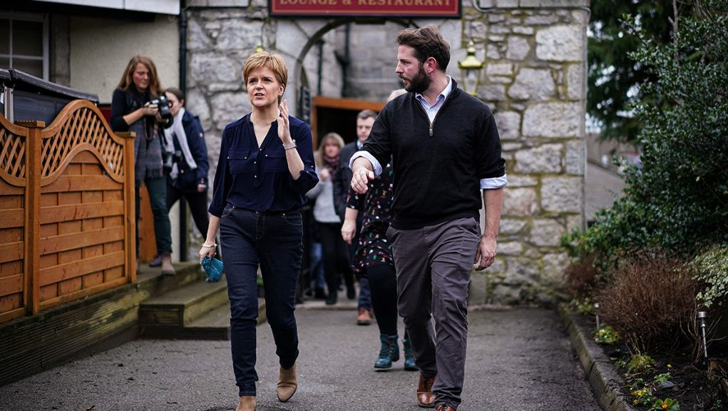 Fergus Mutch campaigning with Nicola Sturgeon ahead of the 2019 UK General Election.
