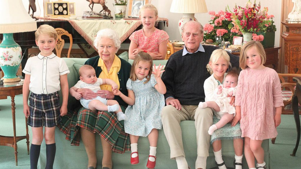 Duke of Edinburgh and the Queen with their great-grandchildren.