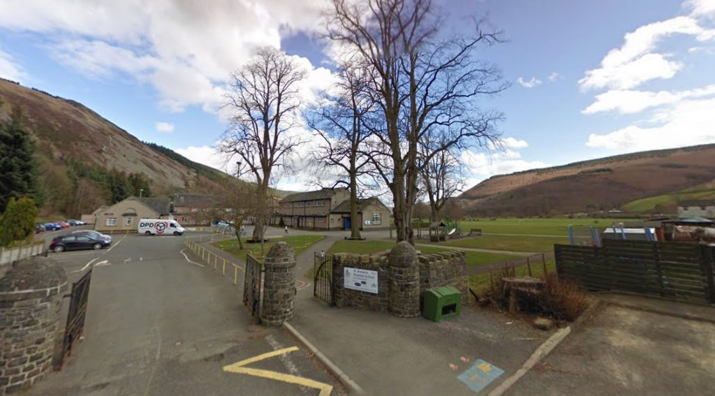 Paraglider crash-landed at St Ronan's Primary School.