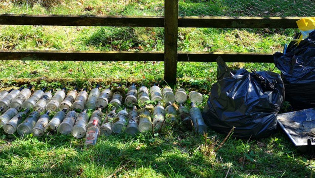 Bottles left discarded at a tourism hotspot.