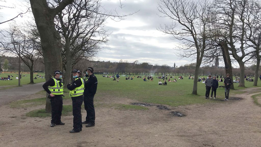 Police in the Meadows the day before the incident.