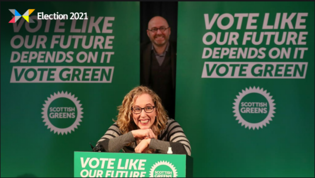 Co-leaders: Lorna Slater and Patrick Harvie at manifesto launch.