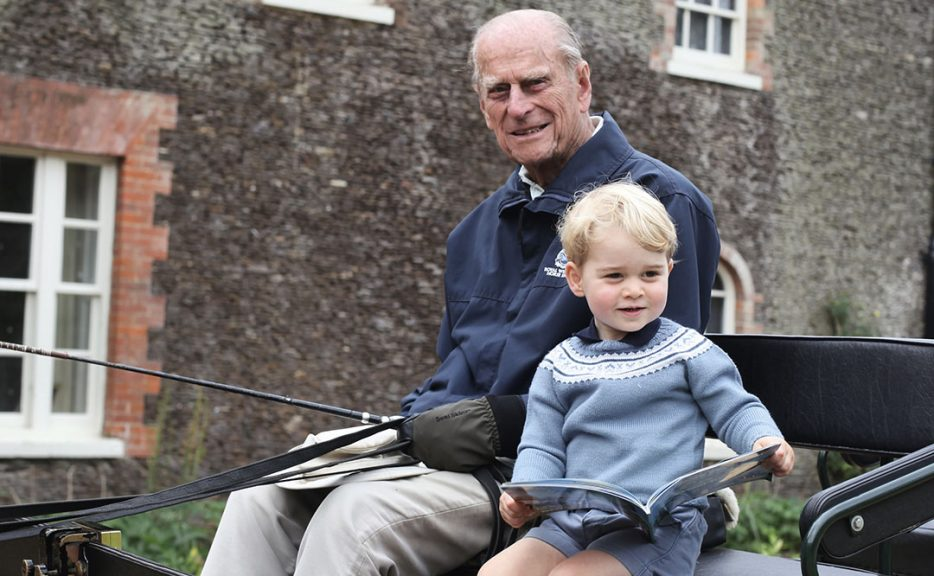 Prince Philip with his great-grandson Prince George.