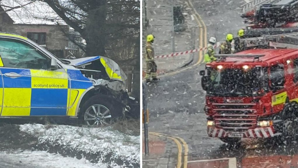 A police car crashed in Aberdeenshire and firefighters made the area safe after a chimney fell from a building in Aberdeen.