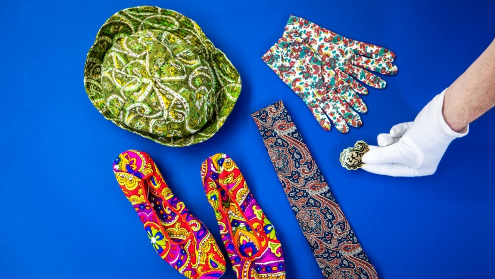 A selection of Paisley patterned items from Paisley Museum.