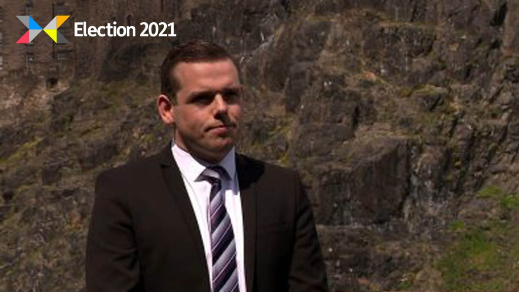 Douglas Ross will give a speech near the border with England on Thursday.