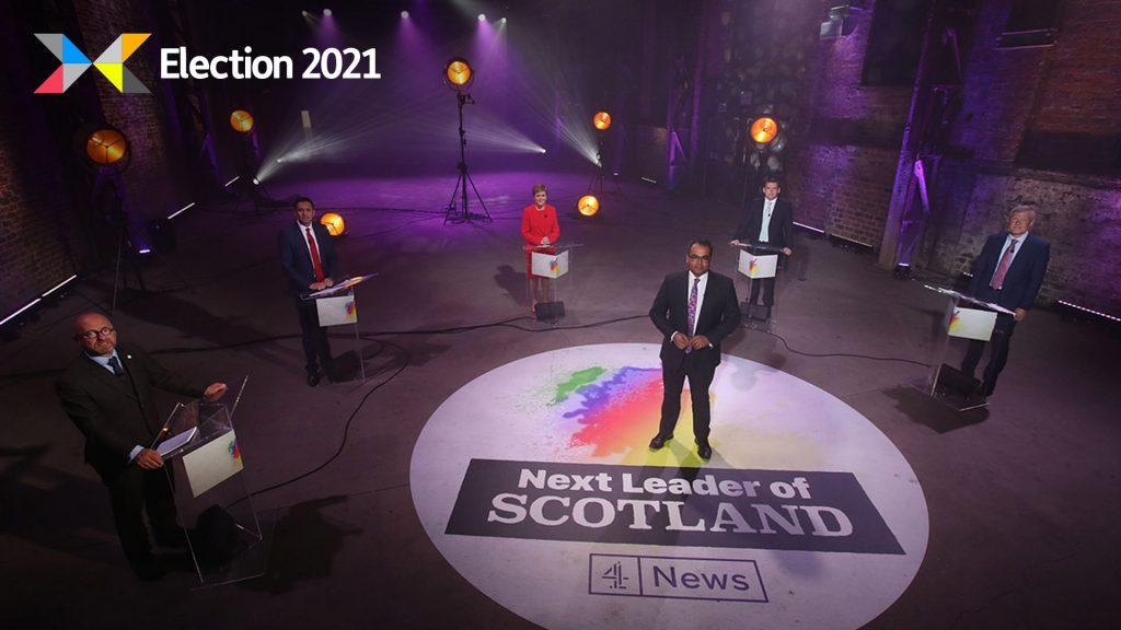 The leaders of Scotland's main political parties and Krishnan Guru-Murthy at Channel 4's debate.