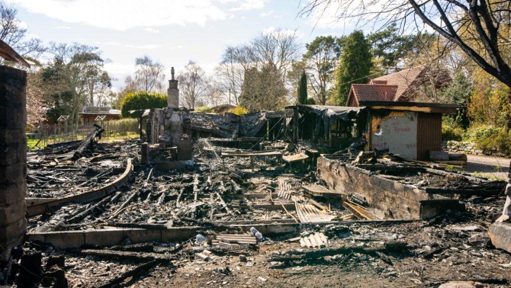 Blaze: Extensive damage to community centre following fire.