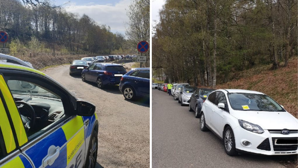Police and enforcement officers closed roads and issued numerous penalty notices across the Forth Valley including at Ben Ledi, Ben A'an and Rowardennan.
