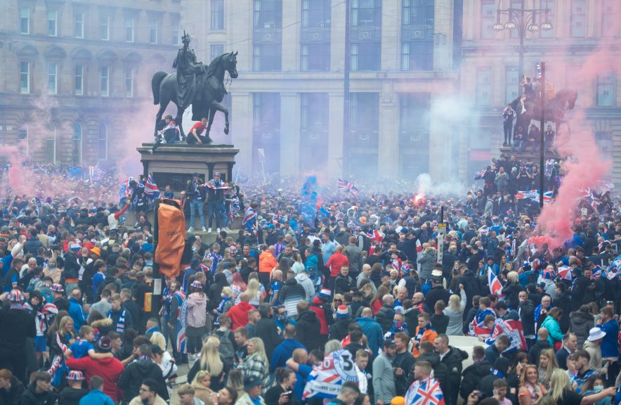Rangers fans celebrating Scottish Premiership triumph in George Square in May.