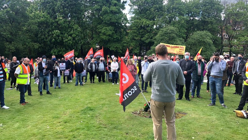 McVitie's workers protesting in Glasgow on Saturday.