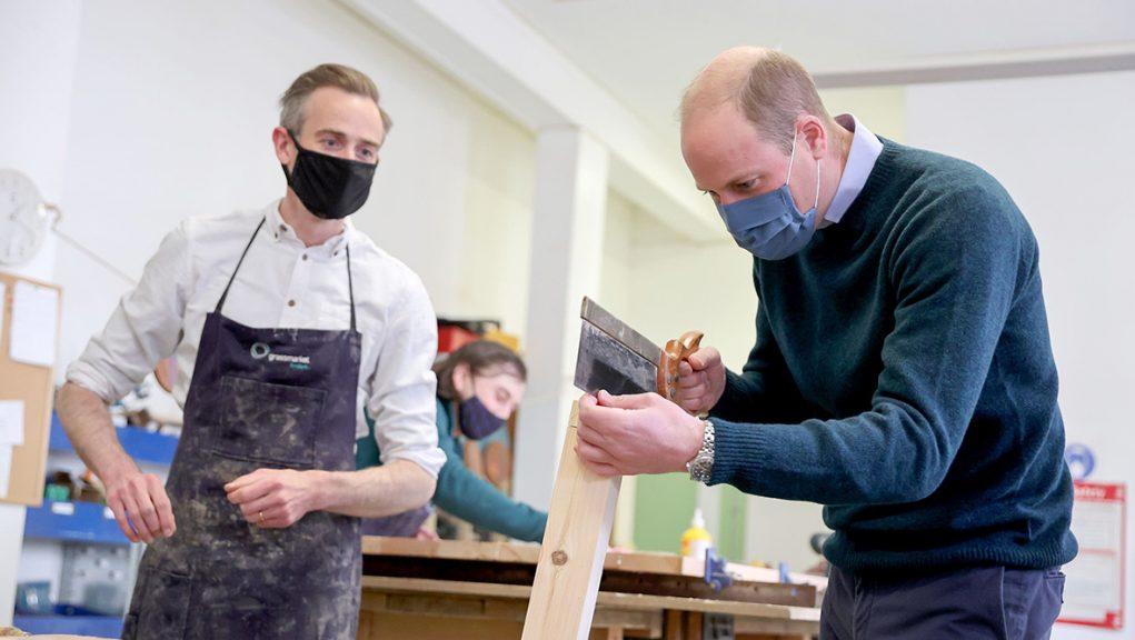 The Duke of Cambridge had a go at carpentry in Edinburgh.