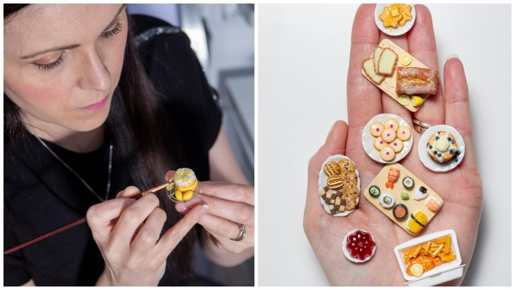 Micro meals: Roz MacLean makes the tiny dishes from clay.