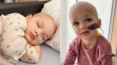 Little Flora is receiving intensive chemotherapy in a bid to shrink the tumour in her stomach.