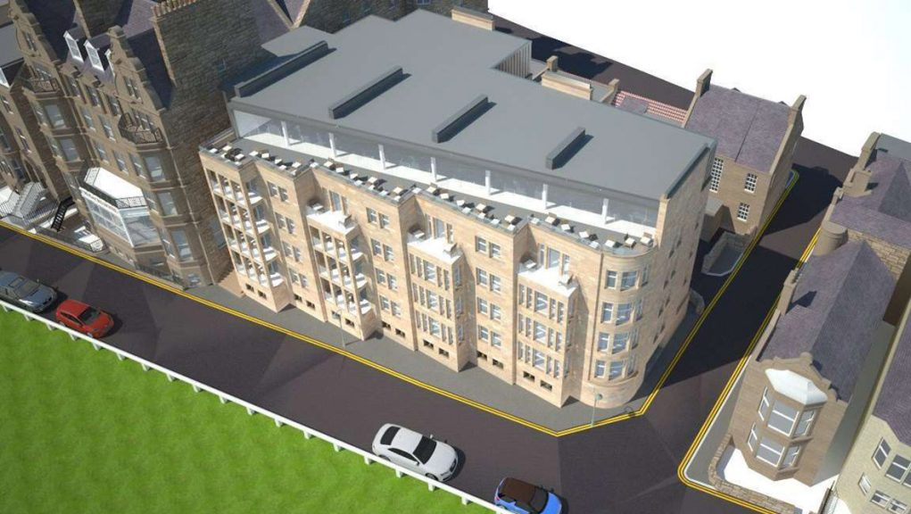 A visual of the Rusacks Hotel extension with the Open golf walk of fame pavement in front.