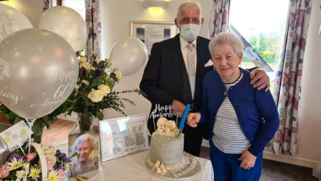 Love: William and Margaret McMeechan celebrated their diamond wedding anniversary.