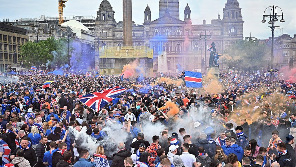 Thousands of Rangers fans gathered in George Square.