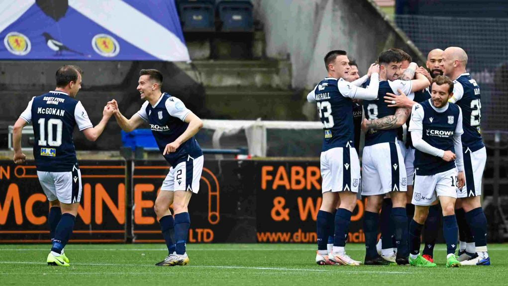 Dundee won 2-1 at Rugby Park in the second leg of the play-off.
