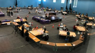 Elgin, Moray, Holyrood election count.