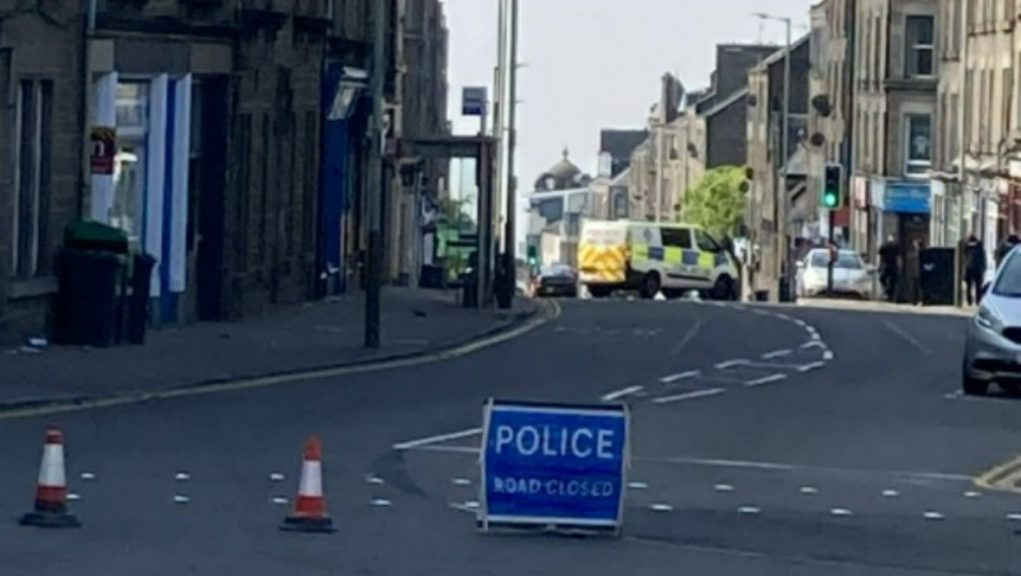 Dundee: Police locked down Albert Street in Dundee.