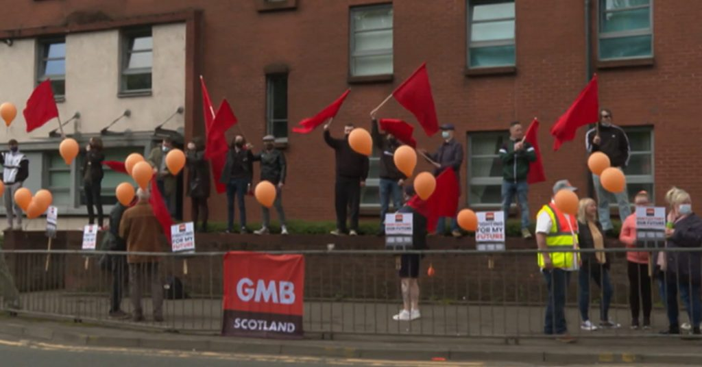 A protest was held outside the factory.