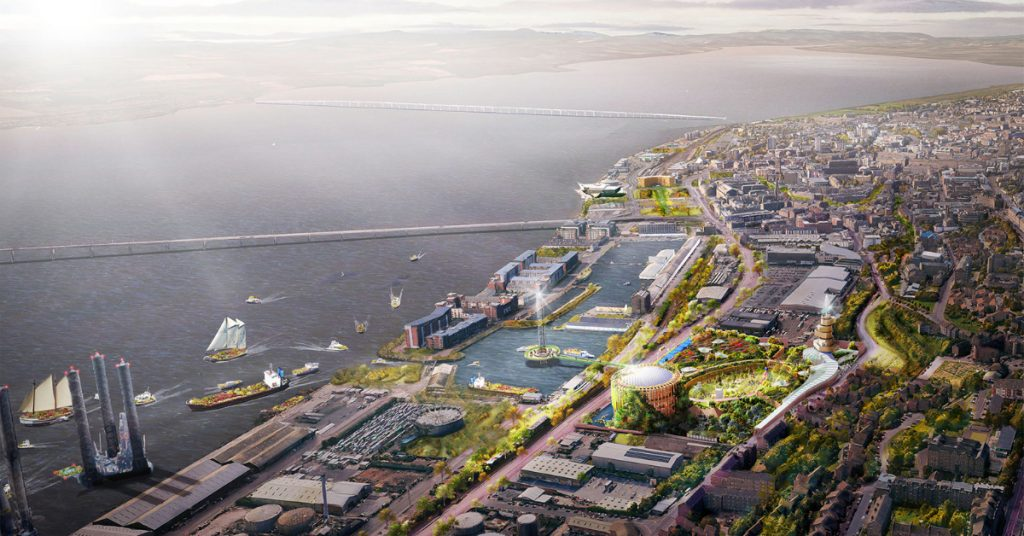 An artist's impression of Eden Project Dundee in the former gasworks site.