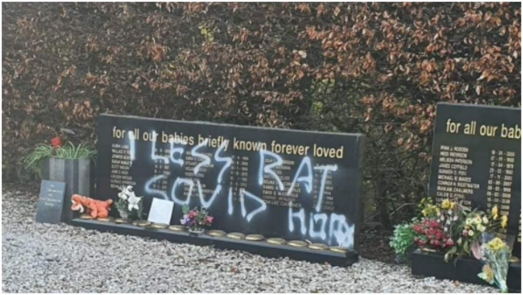 'Sick': Baby memorial site vandalised.