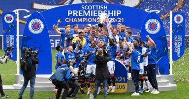 Rangers lift the trophy.