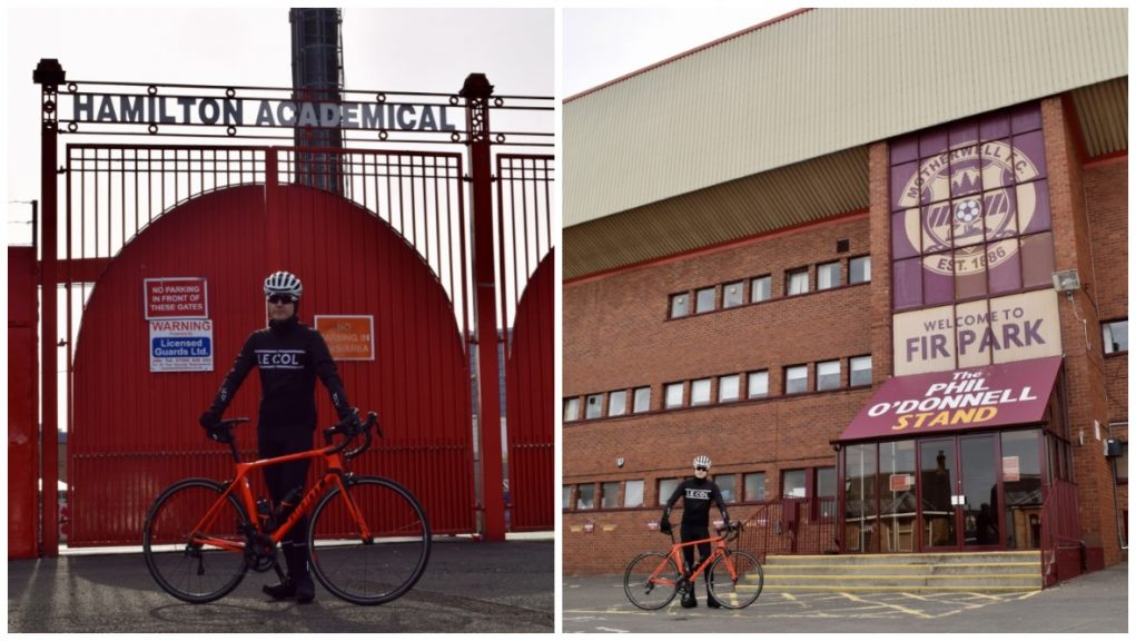 Challenge: Graeme Tulloch is aiming to cycle to all 42 SPFL football stadiums.