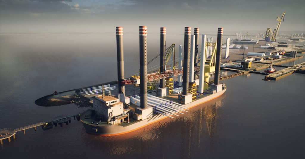 CGI image showing proposed outer berth at The Port of Leith with wind installation vessel.