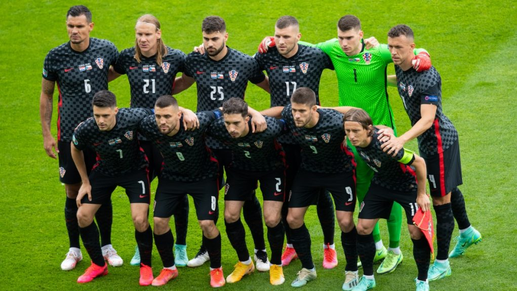 Croatia line-up before taking on the Czech Republic at Hampden on Monday.