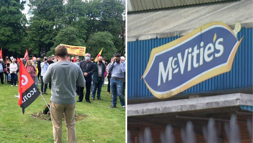 Workers at the biscuit factory in Glasgow staged a demonstration in May following the closure announcement.