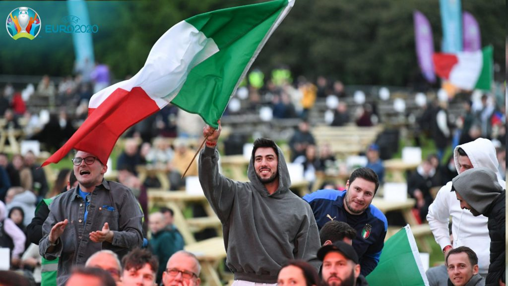 Celebrations: Italy fans in Glasgow fan-zone.